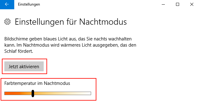 Windows 10: Nachtmodus