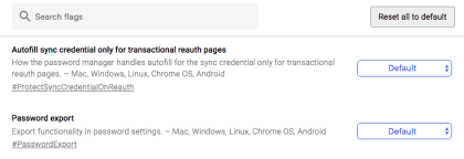 Chrome: Passwort-Export aktivieren