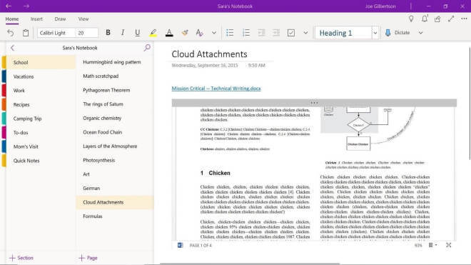 OneNote für Windows 10