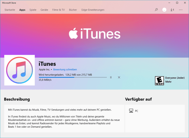 iTunes im Microsoft Store