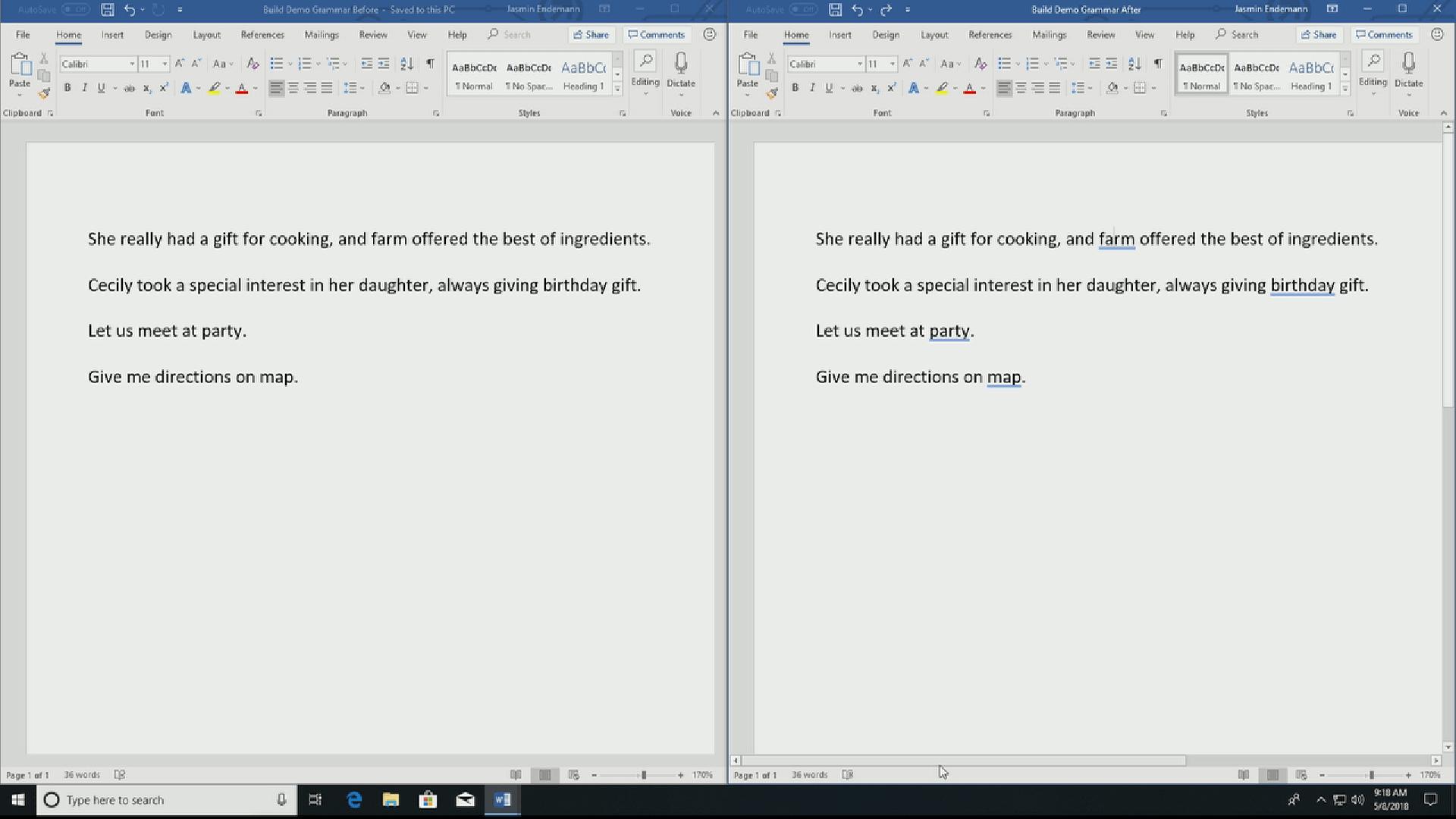 Word mit KI-basierter Grammatikkorrektur