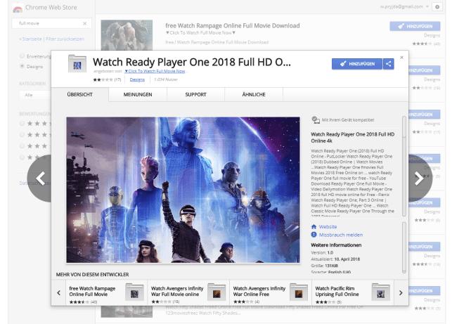 Fake-Filme im Google Web Store