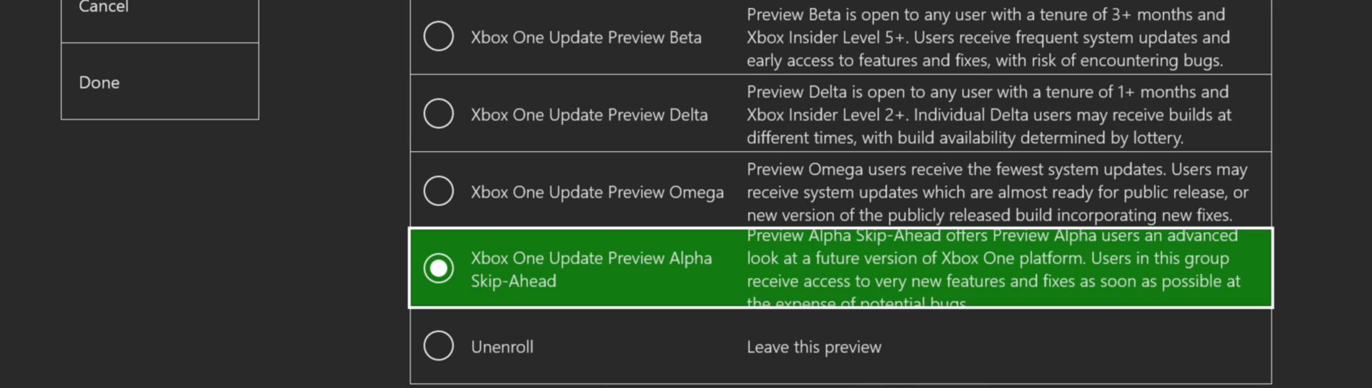 Xbox Insider Alpha Skip Ahead Ring