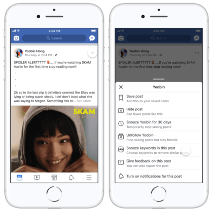 Facebook: Stichworte stummschalten