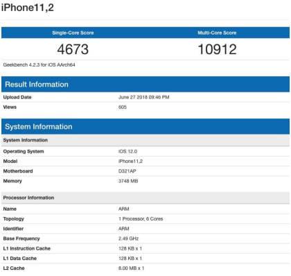 Geekbench-Eintrag für das iPhone iPhone11,2