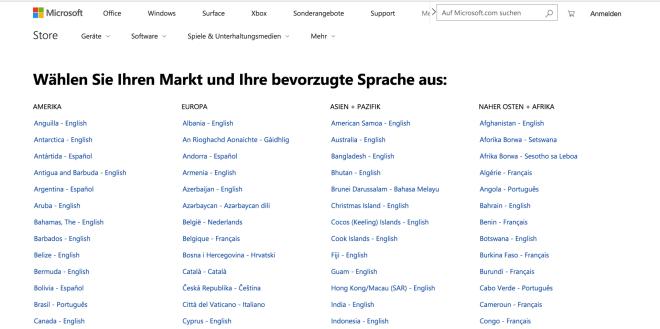 Microsoft Store Regionseinstellungen