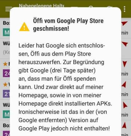 Öffi: Rauswurf aus dem Play Store