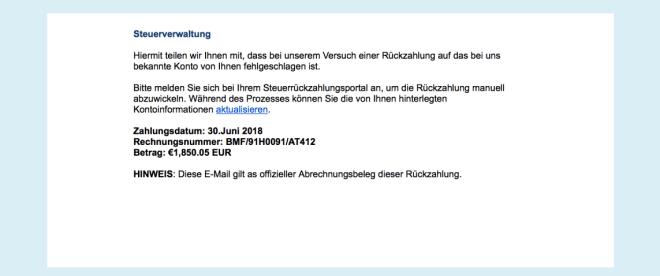 Steuererstattung-Phishing Bundesfinanzministerium