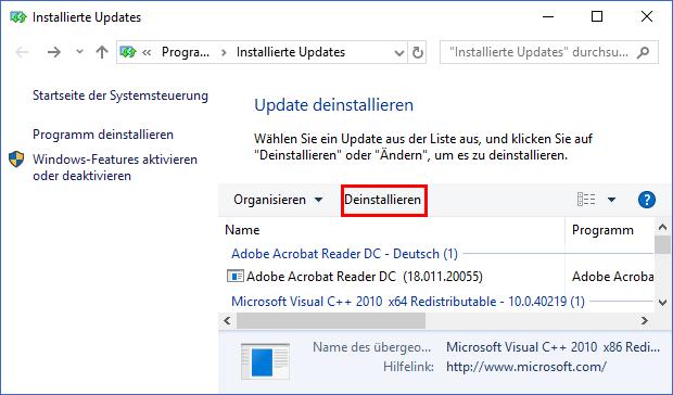 Windows 10: Office-Update deinstallieren