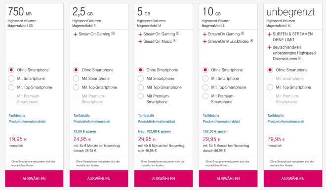 Neue Online-Rabatte Telekom MagentaMobil