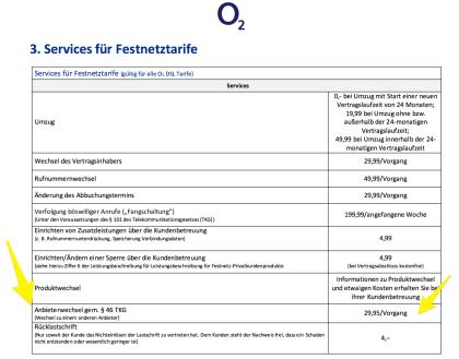 Pauschale O2-DSL-Wechsel-Gebühr