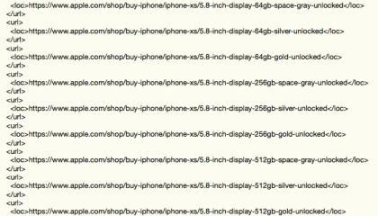 iPhone Xs-Leak: Sitemap des Stores