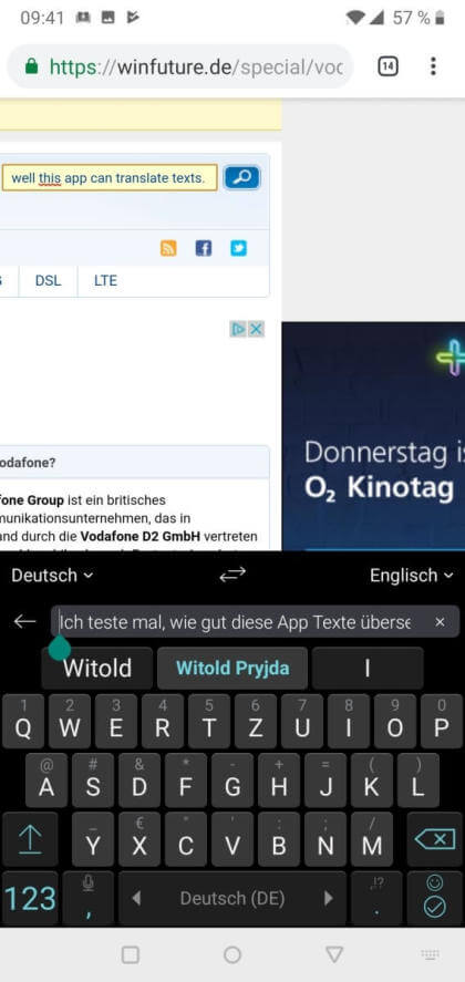 SwiftKey mit Microsoft Translator