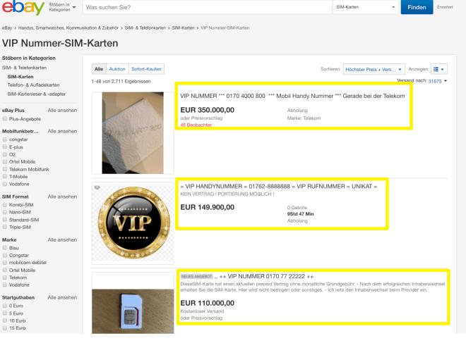Ebay VIP-Handynummern
