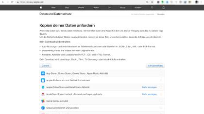Apple Supportseite Datenschutz