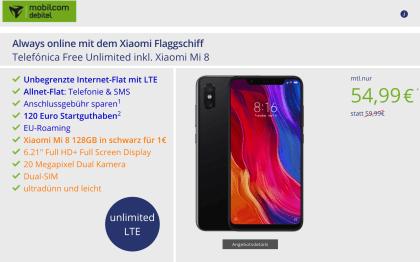 Telefónica Free Unlimited mit Xiaomi Mi 8