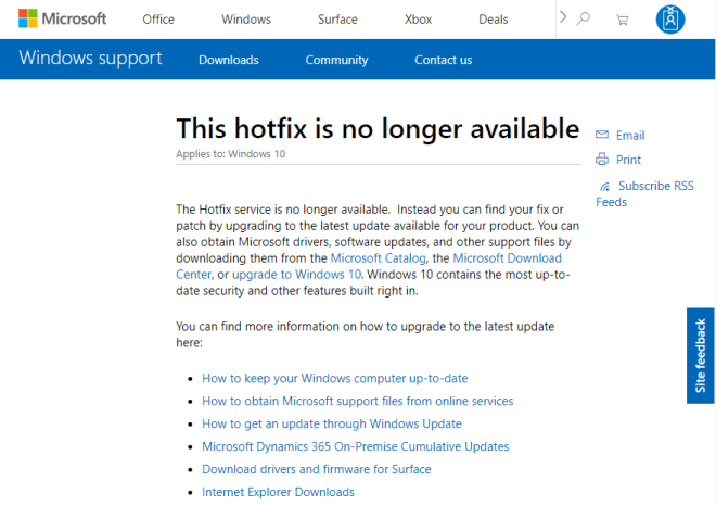 Microsoft Hotfix Download-Fehler