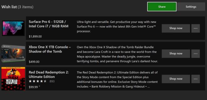 Microsoft Store: Wunschliste und Einkaufswagen