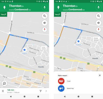 Google Maps: Blitzer- und Unfall-Warnungen