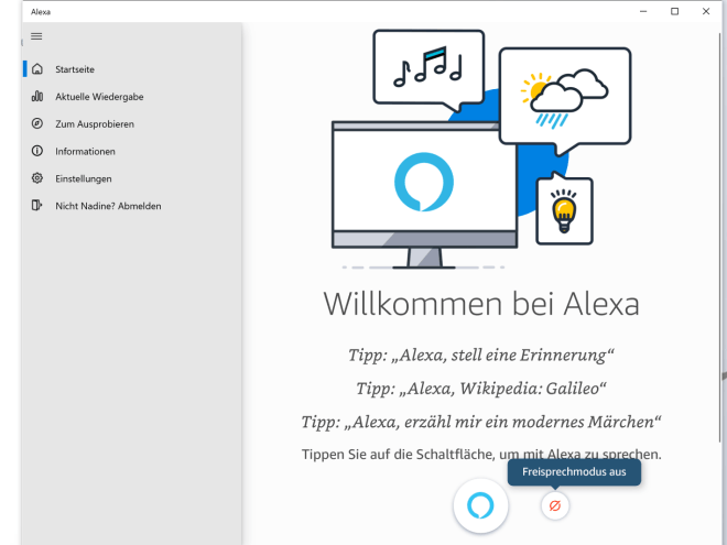 Alexa App für Windows 10