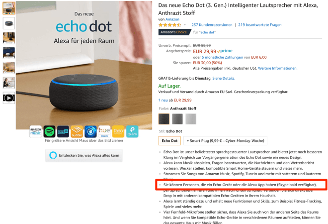 Skype für Amazon Echo