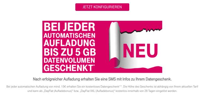 Telekom Prepaid Auflade-Bonus