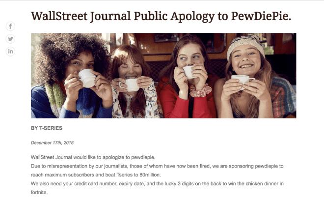 PewDiePie-Hack Wall Street Journal
