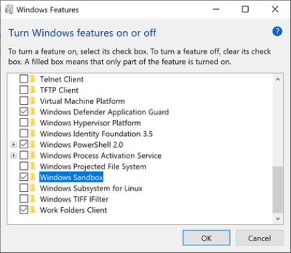 Windows 10: Sandbox
