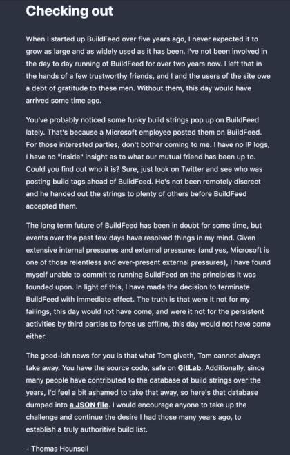 Das Ende von BuildFeed.net