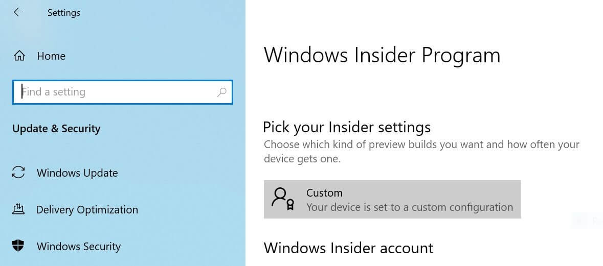 "Windows 10 Insider Preview: Skip Ahead ""Custom"" Bug"