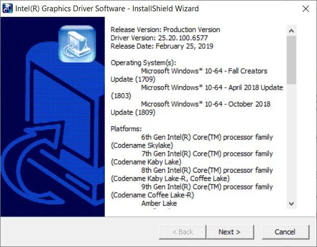 Windows DCH-Treiber für Intel Produkte