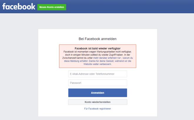 Facebook Ausfall