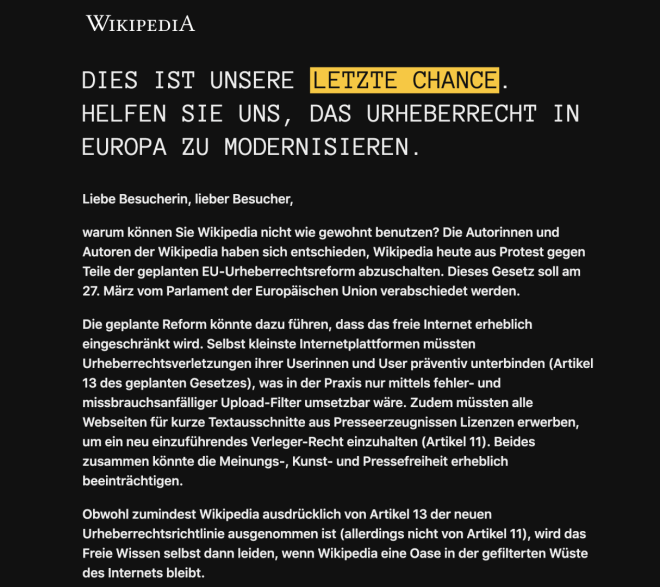 Wikipedia Protest 21. März