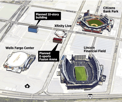 Standort der Fusion Arena in Philadelphia