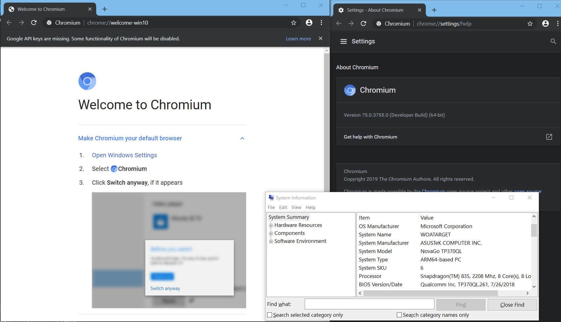 Chromium-Browser für Windows 10 on ARM