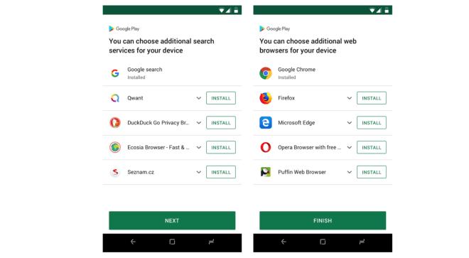 Google Browser- und Suchmaschinenwahl für Android