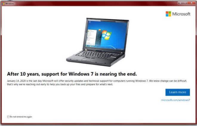 Supportende für Windows 7