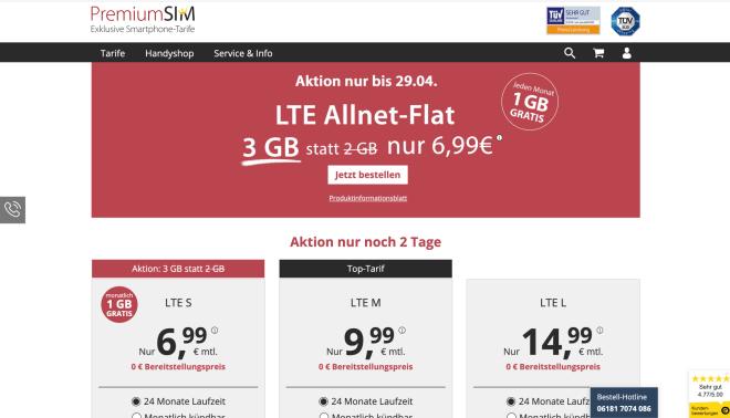 Sim Karte Monatlich Kündbar.Premiumsim Aktion 3 Gb Daten Für 6 99 Euro Auch Monatlich Kündbar