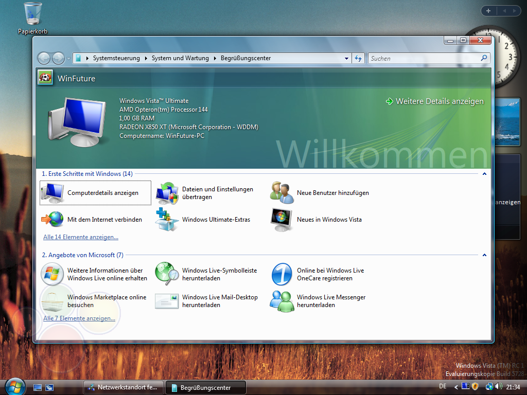 Windows Vista Build 5728 - Bilderstrecken - WinFuture de