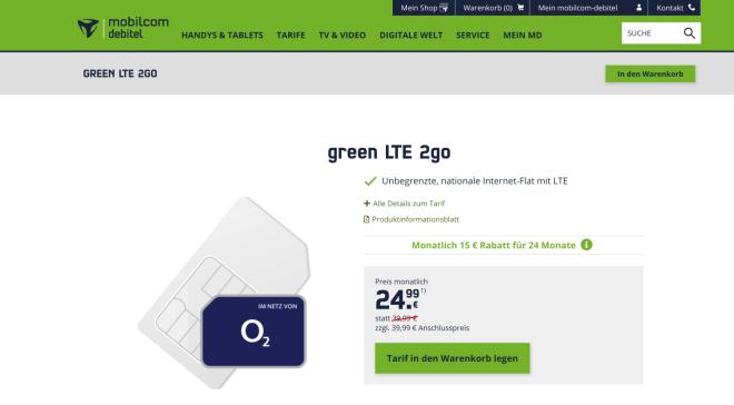 green LTE 2go Mobilcom Debitel