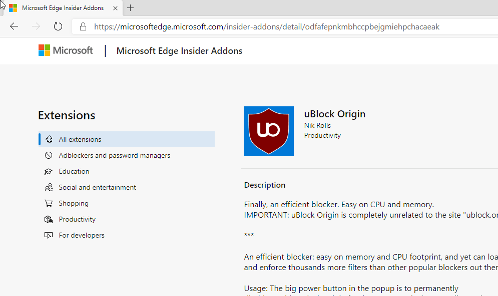 Microsoft Edge Insider Add-Ons