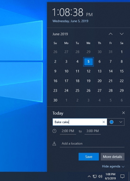 Windows 10 Build 18912: Kalender-Schnelleintrag