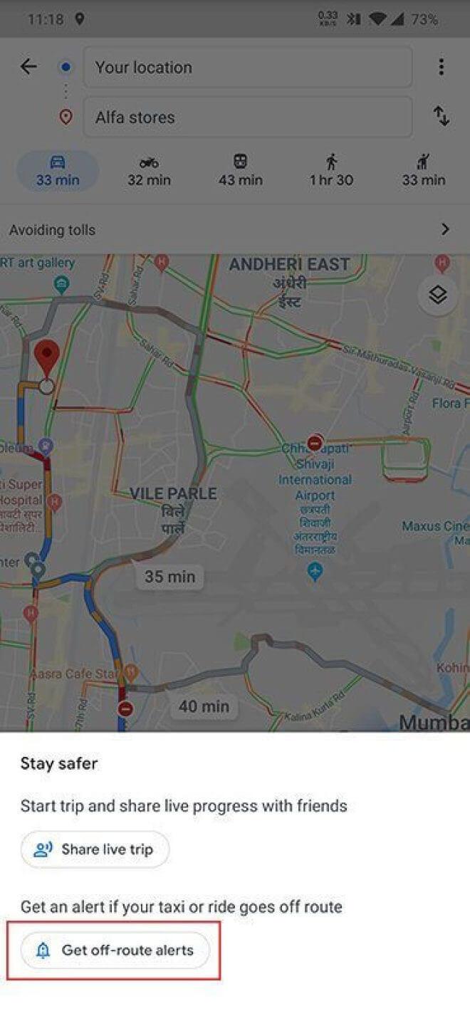 Google Maps Taxi-Warnungen
