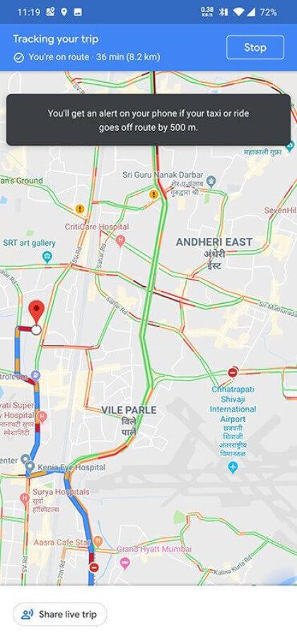 Google Maps: Routenplaner warnt vor Abweichungen auf einer Taxifahrt on