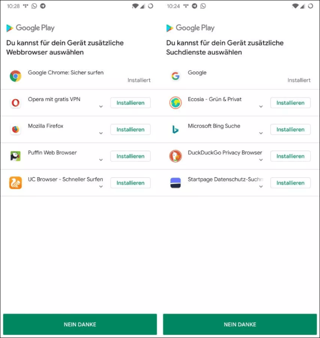 Google Browser-Wahl in Android