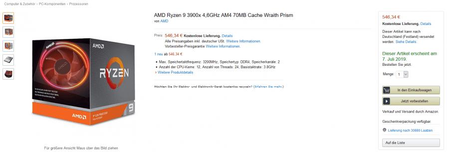 Viel zu teuer: Preise der AMD Ryzen 3000-CPUs bei Amazon gelistet