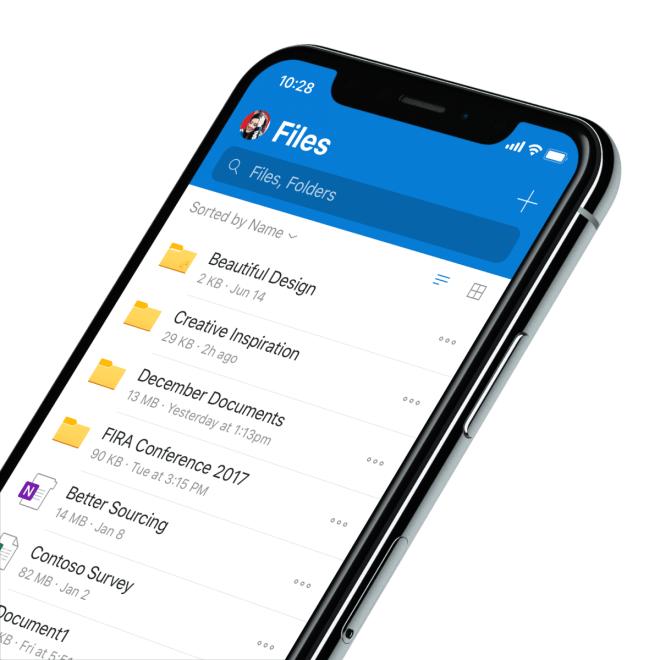 Microsoft OneDrive für iOS (Fluent Design)