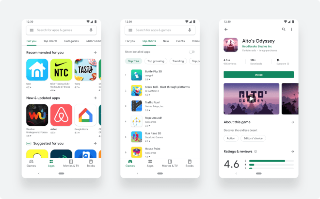 Android: Play Store im neuen esign