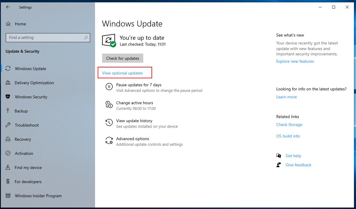 Windows 10: Optionale Windows Updates