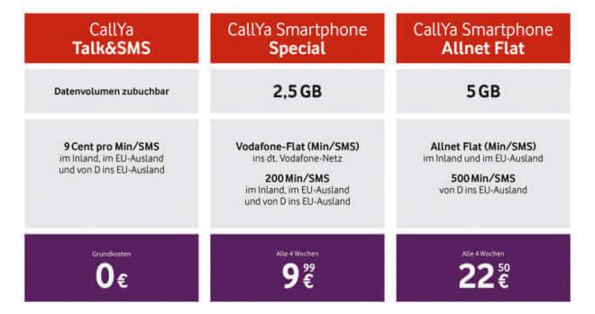 Vodafone CallYa-Tarife (Oktober 2019)
